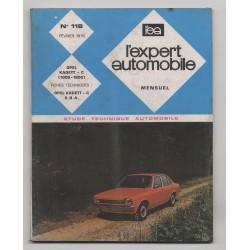 REVUE TECHNIQUE L'EXPERT AUTOMOBILE N°118 OPEL KADETT C 1000 - 1200