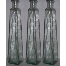 3 Bouteilles PYRAMIDE DIFFORME en verre 100 % recyclé CONTENACE 1L