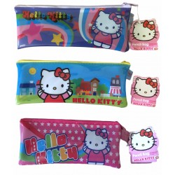 3 TROUSSES SCOLAIRE PLATE TRANSPARENTE HELLO KITTY