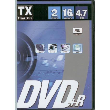 2 DVD+R VIERGE THINK XTRA 4.7 GO 16X DANS BOITIER SLIM