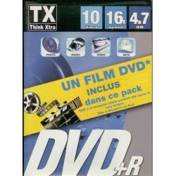 PACK 10 DVD+R VIERGE THINK XTRA 4.7 GO 16X DANS BOITIER SLIM+film IRON MAN