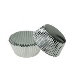 50 Caissettes patisserie ronde plissée argenté diametre 35