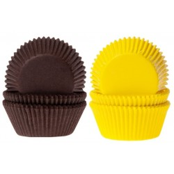 75 Caissettes patisserie ronde plissée jaune-marron diametre 35