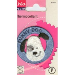 Ecusson Thermocollant FUNNY DOG BLEU CREA PECAM