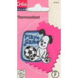 Ecusson Thermocollant FUNNY DOG FOOTBALL CREA PECAM