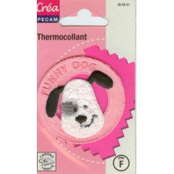 Ecusson Thermocollant FUNNY DOG ROSE CREA PECAM
