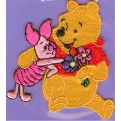 Ecusson Thermocollant Disney WINNIE L'OURSON et PORCINET FLEUR