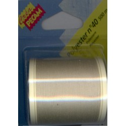 BOBINES FIL 500M polyester N°40 ECRU tous textiles a main ou machine CREA PECAM