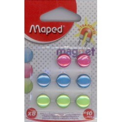 8 AIMANTS MAPED rond diamètre 10 mm couleurs assorties